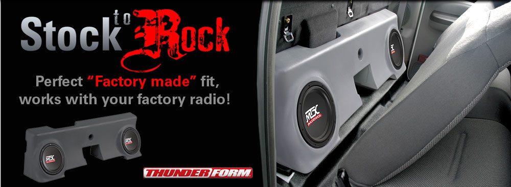 Stock to ROCK!  Factory made fit subwoofer enclosures that work with your factory radio!