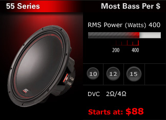"NEW!  High SPL subwoofers with excellent sound quality.  Dual voice coils, with 400W RMS rating.  10"", 12"" & 15"".  Most bang for the buck at only $88 - $131!"