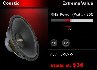 "High efficiency at extreme value!  150W - 250W RMS rating with single voice coil.  Available in 10"", 12"" and 15"" models.  $36 - $54"