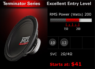 "Entry level subwoofers with excellent value!  150W - 200W RMS, single voice coil in 10"" & 12"" options.  The most bass available under $50!"