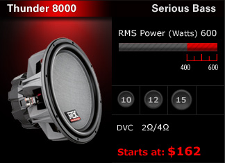 "Serious bass and excellent sound quality for the most discriminating enthusiast.  400W - 600W RMS, with dual voice coils.  10"", 12"" & 15""  Starts at $166."