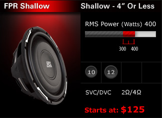 FPR Shallow mount car subwoofer with depth under 4 inches.