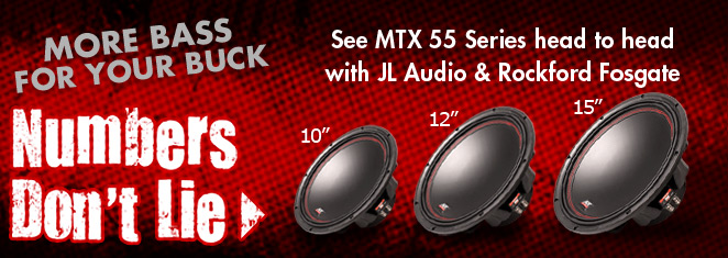 Compare MTX 55 Series 15 inch against JL Audio and Rockford Fosgate!