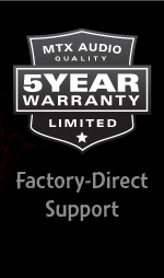 5 Year Warranty on all car audio amps, subwoofers and speakers!
