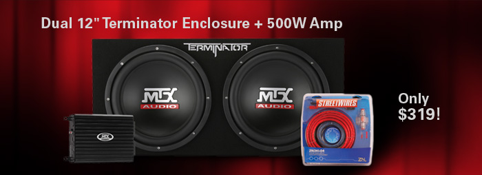 Bundle and save!   Dual 12 inch Terminator subwoofers + 500W Amp Package - only $319!