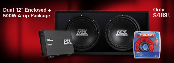 Bundle and Save!  Dual 12 inch Road Thunder enclosure + 500W Amp Package - only $489!