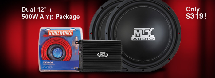 Bundle and Save!  Dual 12 inch Road Thunder + 500W Amp Package - only $319