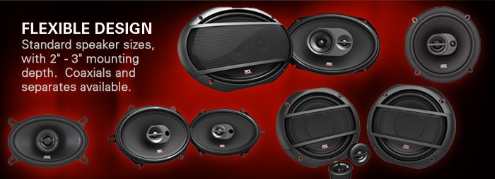Terminator car audio speakers are designed to fit any vehicle with both coaxials and separates.