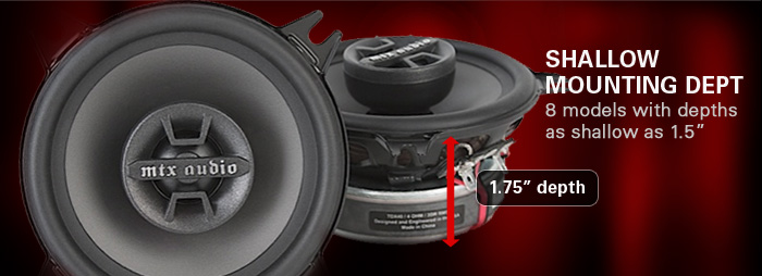 Thunder Dome car audio speaker line has 8 models with depths as shallow as 1.5 inches so you can mount them anywhere.