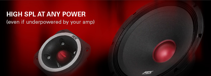 Road Thunder speakers produce high SPL at any power - even if underpowered by your amplifier.