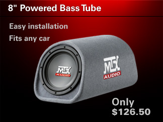 Easy install bass addition with the MTX Roadthunder 8 inch bass tube!