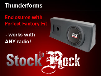 Get a custom factory look for your bass kit with vehicle specific Thunderform enclosures.