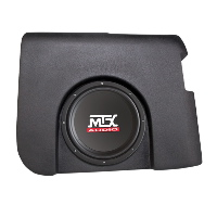 "Single 10"" 200W RMS Amplified Enclosure for Chevrolet Silverado 1500/2500 Crew Cab 2007-2013"