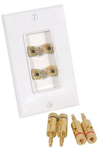 Picture of Musica BP-4W 2 Pair Dual Binding Post Wall Plate