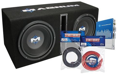 Picture of Magnum MB210SPPKG Dual 10 inch 400W RMS Vented Enclosure with Amplifier and Wire