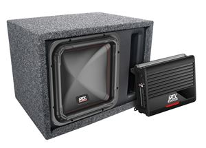 "Picture of Single 12"" Square Subwoofer, Amplifier, Wiring Kit and Enclosure Package"