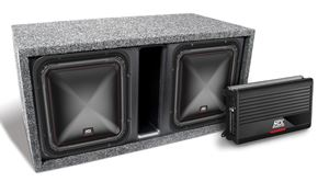 "Picture of Dual 10"" Square Subwoofer, Amplifier, and Enclosure Package"