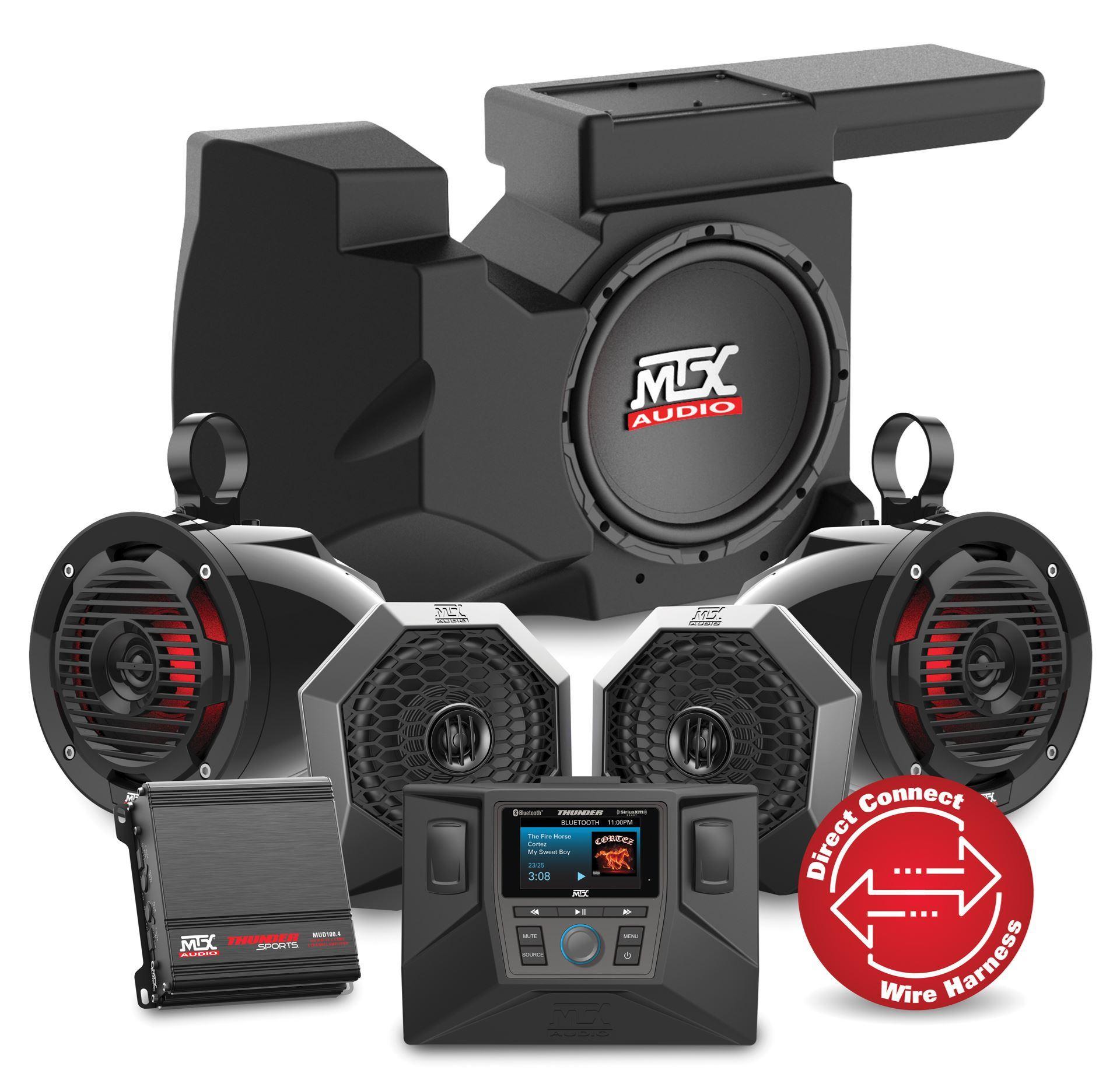 Four Speaker, Dual Amplifier, and Single Subwoofer Polaris RZR Audio System