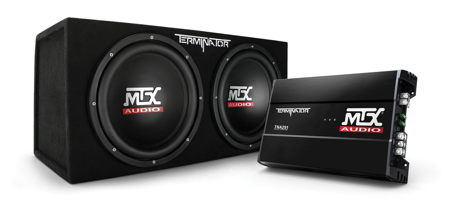 "TNP212D2 Dual 12"" Subwoofer Enclosure And Amplifier Party Package 