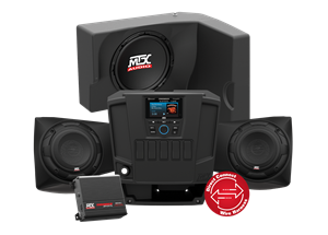 Picture of Two Speaker, Dual Amplifier, and Single Subwoofer Polaris RANGER Audio System