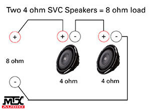 Subwoofer Wiring Diagrams | MTX Audio - Serious About Sound® on 8 ohm horn, 8 ohm speaker, 4 ohm diagram, 8-speaker diagram, 8 ohm subwoofer wiring, dual amp installation diagram, 8 ohm wire, ohm sub woofer diagram,